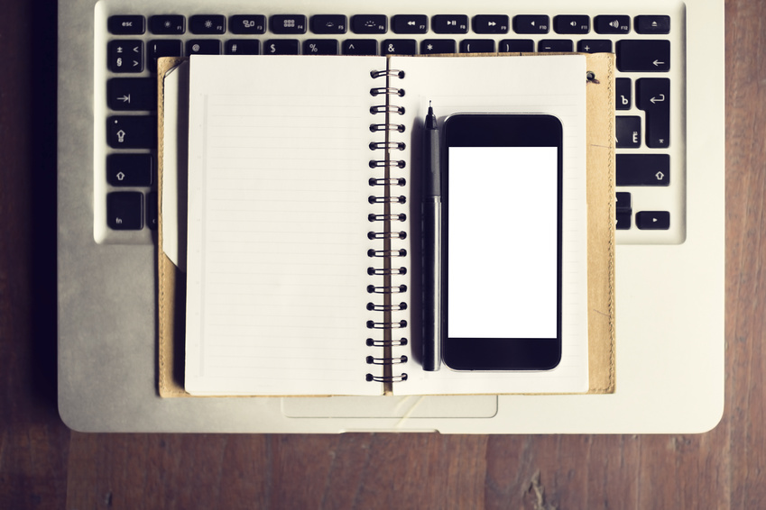 Blank cell phone, diary and laptop, mock up